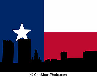 Fort Worth with Texan flag - Fort Worth Skyline against...
