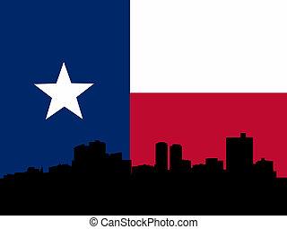 Fort Worth skyline with texan flag illustration