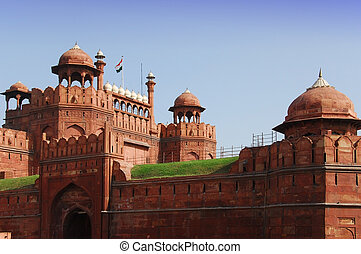 fortaleza, delhi, india, rojo