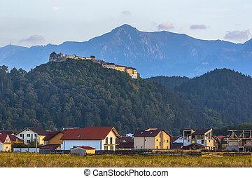 fortaleza, rasnov, rumania, bucegi, montañas