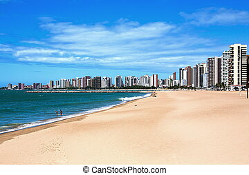 Fortaleza waterfront - beach of Fortaleza in ceara state...