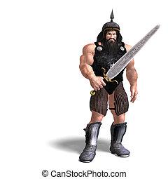forte, anão, com, espada