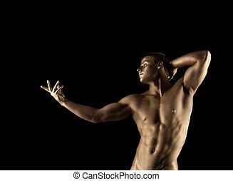 forte, atlético, homem, retrato, com, metal, pele
