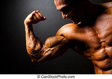 forte, bodybuilder, posar