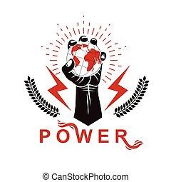 forte, composto, braccio, globe., muscolare, manipolazione, elevato, vettore, controllo, autorità, mezzi, terra, lampo, presa a terra, globale, logotipo, usando, simbolo