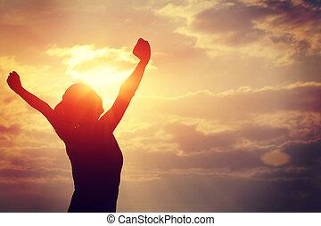 forte, confiança, mulher, braços abertos