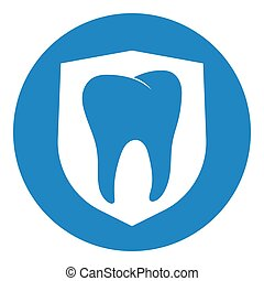 forte, dente, scudo, pulito, bianco