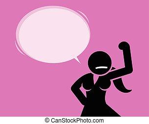 forte, e, capaz, mulher, mostrando, dela, bicep.
