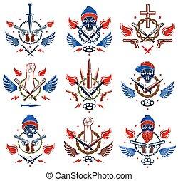 forte, elementi, pugno, revolutionary., aggressivo, ribelle, cranio, , differente, tatuaggio, vettore, logotipo, caos, pistole, armi, o, anarchia, disegno, emblema, stretto, pallottole