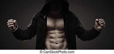 forte, hooded, sujeito, fazer, músculos