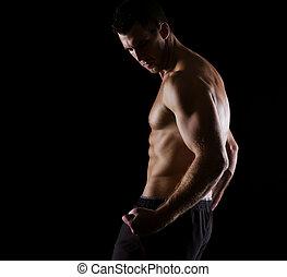 forte, muscular, atleta, posar, ligado, pretas