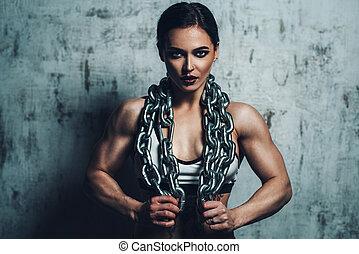 forte, ostenta mulher