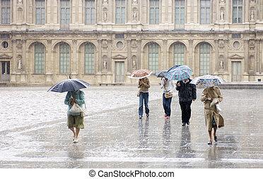 forte pluie, louvre