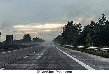 forte pluie, par, a7, vu, pare-brise, autoroute