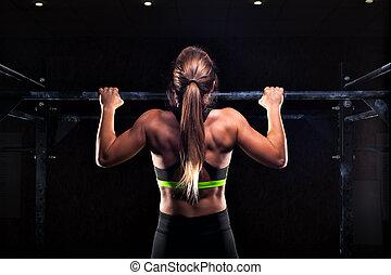 forte, ragazza, in, abbigliamento sportivo, fare, tirare,...