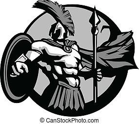 forte, spartan, o, trojan, mascotte, con, lancia, e, scudo