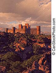 forteresse, château, montagnes