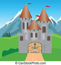 forteresse, dans, montagne