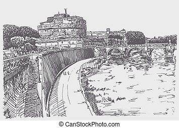forteresse, dessin, sant'angelo, rome, cityscape