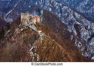 forteresse, roumanie, dracula's, poienari