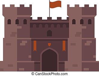 fortezza, vecchio, medievale, torreggiare, -, fortezza