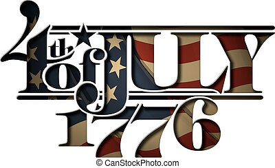 Typographic art cut-out with a waving Betsy Ross American flag underneath. The Settle thickness on the cut-out border follows the inner shadow's light source.