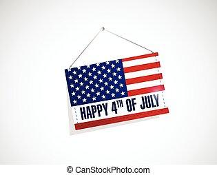 forth of july us hanging flag illustration