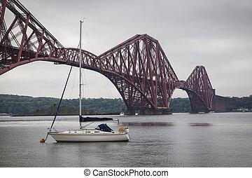Forth Rail Bridge and Firth of Forth near Edinburgh, Scotland
