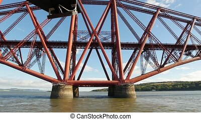 Forth Rail Bridge in Edinburgh - water ferry, wide angle