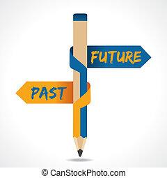 fortid, blyant, fremtid, pil