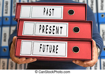 fortid, gave, fremtid, begreb, words., brochuren, concept., ring, binders.