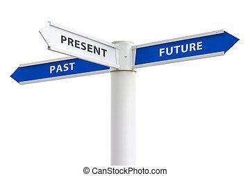 fortid, gave, fremtid, korsveje underskriver