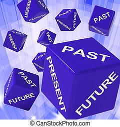 fortid, gave, fremtid, terninger, viser, forecasts