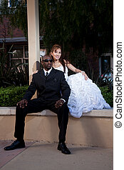 Forties asian african american multiracial wedding couple