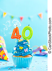 Fortieth 40th birthday cupcake with candle blow up and sprinkles. Card mockup.