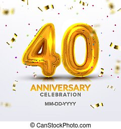 Fortieth Anniversary Celebration Number Vector