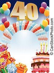 fortieth, cumpleaños, cartel
