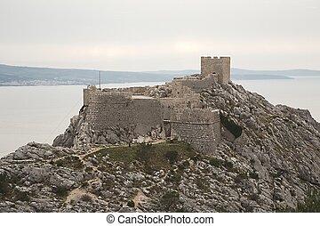 fortificação, ligado, um, penhasco