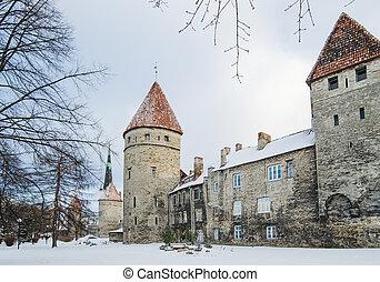 fortificação, parque, antigas, tallinn