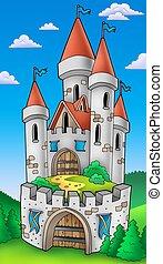 fortificación, alto, castillo