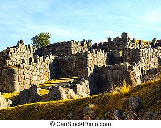 Fortification walls of Sacsayhuaman citadel near historic capital of the Inca Empire Cusco, Peru