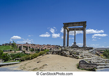 Fortification of the town of Avila in Spain Europe. - ...