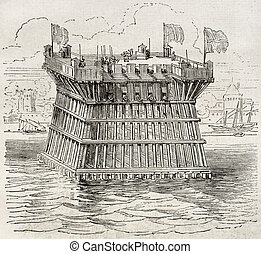 Fortification - Old illustration of defensive fortification ...