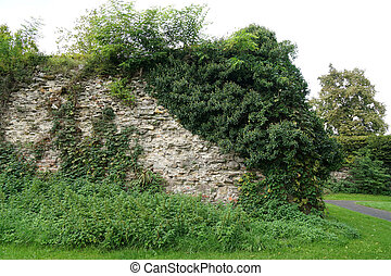 fortification or town wall - old overgrown fortification or ...
