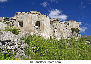 Ruins of second world war fortification in Trentino, Italy