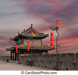 Fortifications of Xian (Sian, Xi'an) an ancient capital of...