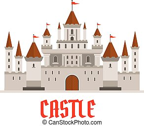 Fortified castle icon with flags and watchtowers