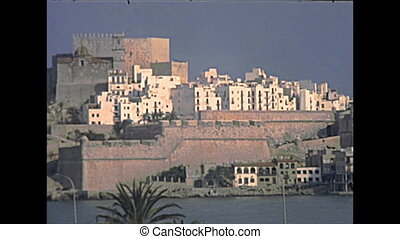 fortified Peniscola town on the sea. Historical Peniscola sea town of Spain in Europe in 1970s. Town called the Gibraltar of Valencia, and The City in the Sea.