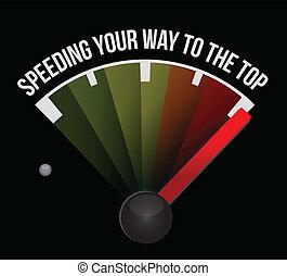 fortkörning, din, väg, till, den, topp, begrepp, hastighetsmätare