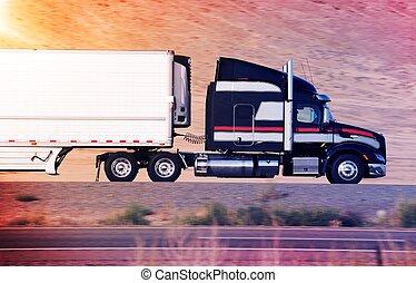 fortkörning, semi transportera